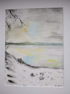 bord-de-lac-en-hiver-aquarelle 30x40 cm pascale coutoux