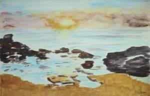 """""""coucher de soleil sur des rochers"""" aquarelle pascale coutoux"""