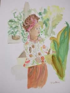 fille au turban aquarelle