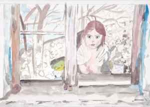 fillette à la fenêtre