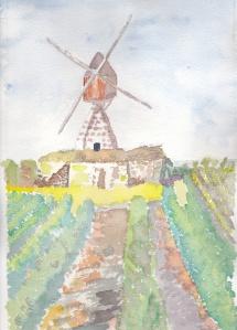 Moulin dans les vignes Aquarelle originale 20/30 cms