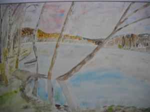 Lac des Settons en automne Aquarelle originale 30/40 cms