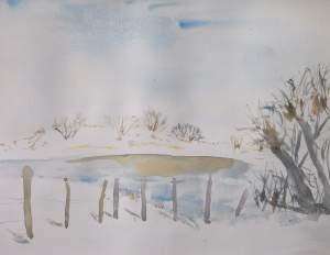 l'aubrac sous la neige aquarelle pascale coutoux