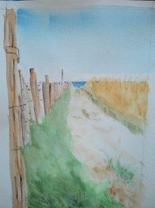 """""""le chemin de la plage"""" aquarelle Pascale Coutoux"""