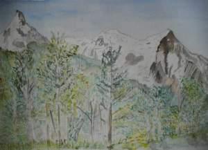 """""""Mont blanc vu de chamonix"""" aquarelle 30x40 cms pascale coutoux"""