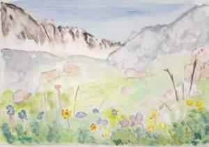 """""""montagne au printemps"""" aquarelle"""