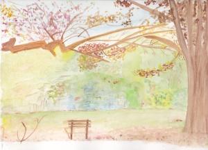 Parc en automne Aquarelle originale 20/30 cms