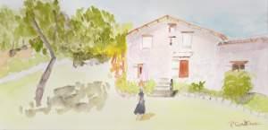 """""""paysage provençal"""" aquarelle 20x30 cms pascale coutoux"""