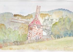 petit moulin Aquarelle originale 20/30 cms