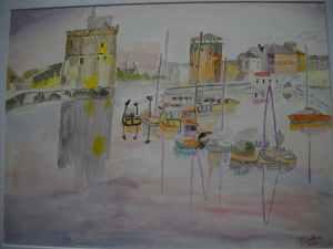 Aquarelle originale 30/40 cms port de la Rochelle le soir au soleil couchant vu du quai.