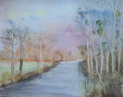 """""""rivière et bouleaux en hiver"""" aquarelle pascale coutoux"""