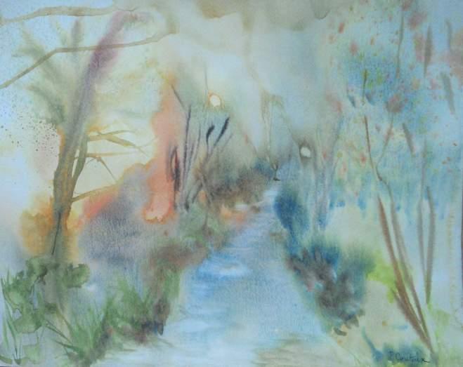 """""""rivière et forêt dans la brume"""" aquarelle pascale coutoux"""