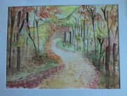 petit chemin dans un sous-bois en automne aquarelle pascale coutoux