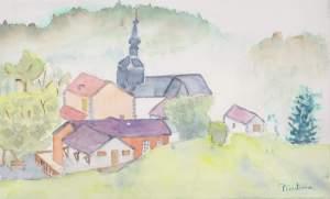 village d'onnion aquarelle pascale Coutoux