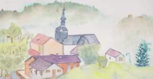 Village d'Onnion 20x30 cms aquarelle pascale Coutoux