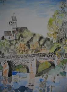 """""""village du vexin"""" Aquarelle 40x50 pascale coutoux"""