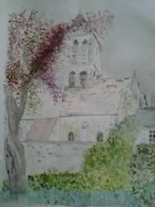 église de Montgeroult Aquarelle 30/40 cm