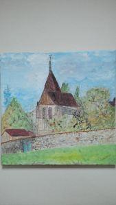 église de Villiers Adam Tableau peint à l'huile sur toile 40x40 cm Pascale Coutoux