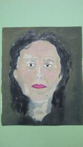 autoportrait devant un miroir réalisé à l'huile sur carton toilé Pascale Coutoux