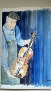 """""""le luthier"""" aquarelle 30x40 cm"""