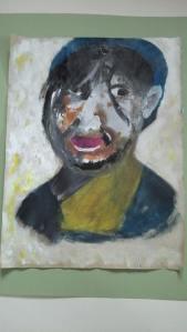 portrait réalisé au couteau et à la brosse peinture acrylique sur papier kraft Pascale coutoux