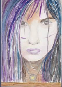 """""""une infinie tristesse"""" Aquarelle 20x30 cmvisage de femme Pascale Coutoux"""
