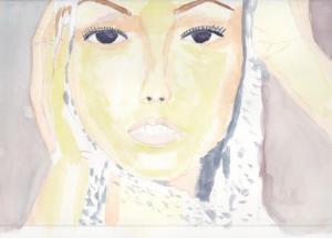 """""""femme au foulard"""" Aquarelle 20x30 cm"""