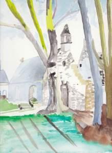 église bretonne Aquarelle 20/30 cms