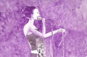 """"""" chanteuse de jazz"""" Aquarelle 20x30 cm Pascale Coutoux"""