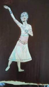 danseuse aux bijoux huile sur carton toilé 30x40 cm