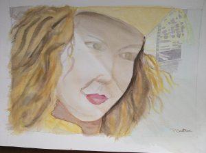 """""""femme au chapeau jaune"""" aquarelle Pascale Coutoux"""