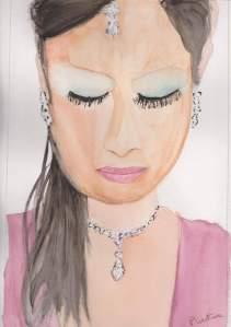 femme aux yeux baissés Aquarelle 20x30 cm
