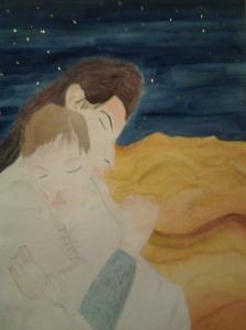 Femme à l'enfant dans le désert Aquarelle 30x40 cm Pascale Coutoux