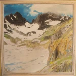 Tableau de montagne: LeLac blanc (chamonix) huile sur toile 60x60 cm Pascale Coutoux