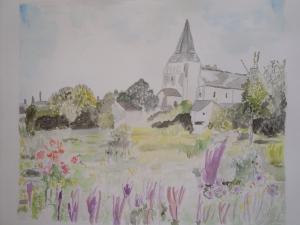 Village de Mesland (Loir et cher) Aquarelle 30/40 cms