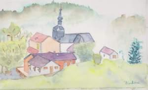 Village d'Onnion en haute- savoie Aquarelle 20/30 cms