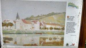 """La Frette Octave Linet (1870-1962) """"Octave Linet a peint de nombreux tableaux de villages du Val d'oise, dont cette vue de l'église.Son reflet et sa situation explique pourquoi La Frette a été décrite par : un clocher au bord de l'eau."""""""