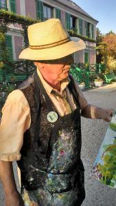 peintre de Giverny dans le jardin de Claude Monet