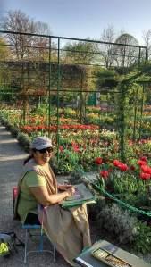 peinture de fleurs dans le jardin de Claude Monet