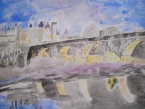 """""""Carcassonne"""" Aquarelle originale 30x40 cm Pascale Coutoux réservée"""