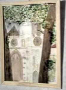 """""""la cathédrale cachée"""" aquarelle 30x40 cm pascale coutoux réalisée lors d'une journée des peintres à Senlis"""