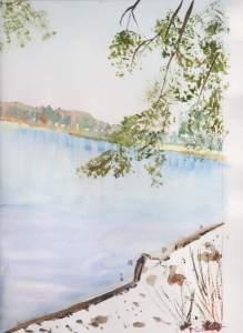 Lac des settons en hiver aquarelle 20x30cm