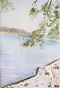 Lac des Settons en hiver Aquarelle 20x30 cms