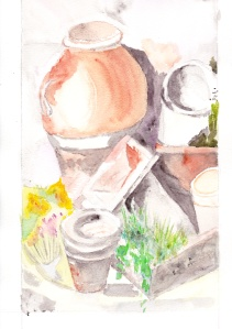 Pots de fleurs Aquarelle originale 20x30 cm Pascale Coutoux