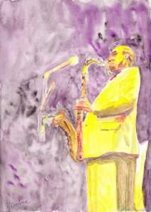 """""""saxophoniste"""" Aquarelle 20x30 cm Pascale Coutoux"""