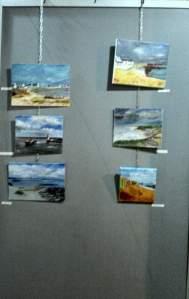 """Tableaux à l'huile faits lors d'une démonstration sur """"peindre la mer et le ciel à l'huile"""" artistes divers"""