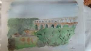 """""""Le pont du gard"""" aquarelle pascale coutoux"""
