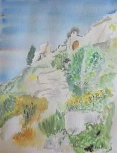 """""""Les Baux de Provence"""" aquarelle pascale coutoux"""