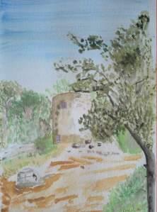 """""""vieux moulin à Fontvieille"""" aquarelle pascale coutoux"""