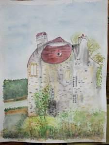 """""""le château de la chasse"""" aquarelle pascale coutoux"""